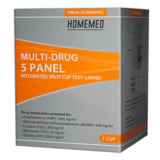 HOMEMED Multi-Drug 5 Panel Integrated Split Key Cup Single
